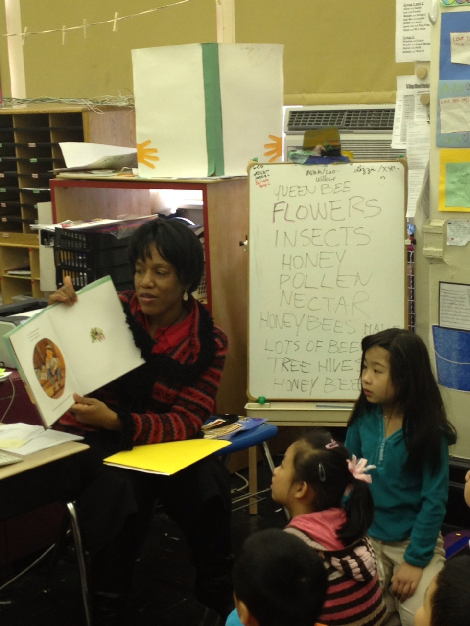 Sonya reads to second graders at PS 42 in Manhattan.